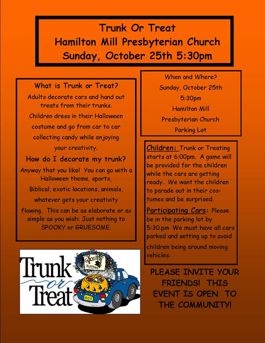 Trunk Or Treat Flyer http://www.hamiltonmillpc.com/TrunkorTreat.php
